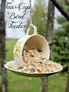 Great DIY Birdfeeder!  Easy to make... cup and saucer add some Elmer's glue and you're good to go!!  ✽¸.••.¸✽ Share The Fun! ✽¸.••.¸✽  Make sure to ADD me; I am always posting awesome stuff on my timeline! https://www.facebook.com/amber.mccann.35