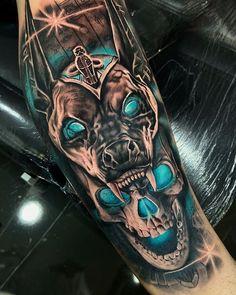 Wolf Tattoo Forearm, 4 Tattoo, Epic Tattoo, Badass Tattoos, Hamsa Tattoo, Calavera Tattoo, Amazing Tattoos, Evil Skull Tattoo, Skull Tattoos