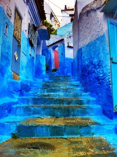 Beautiful, enchanting blues of the architecture and streets in Essaouira, Morocco.