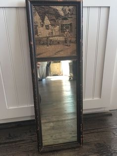 """Vintage Trumeau Mirror, Antique Wall Mirror With Tapestry 26"""", English Village"""
