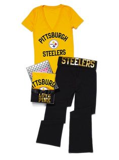 PINK pittsburgh steelers tee and yoga pants