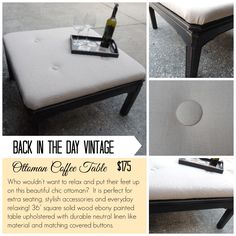 Upcycled upholstered ottoman coffee table made by Back In The Day Vintage of Spring, TX