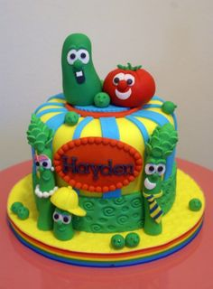 Veggie Tales cake I loved those movies as a kid Veggie Tales Cake, Veggie Tales Birthday, Veggie Tales Party, Beautiful Cakes, Amazing Cakes, Party Sweets, Cake Party, Dream Cake, Just Cakes