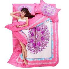 Bohemian Style 4Pcs Zip Open Single Double Queen King Quilt Duvet Cover Bed Sets