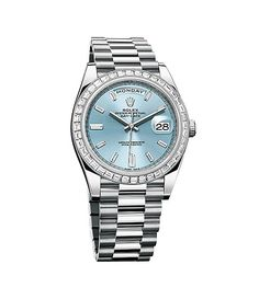 Rolex Day Date Ice Blue Baguette Diamond Dial 18K White Gold Automatic Men's Watch 228396IBLDP