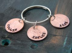 Penny Hand Stamped Keyring Fathers Day Gift by GloryBabiesA2Z, $15.00