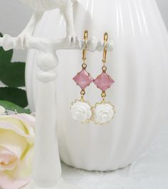Earrings with Pink Vintage Glass Gems and White by IndulgedGirl