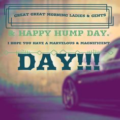 Great Great Morning Ladies & Gents & Happy Hump Day. I hope you have a MARVELOUS & MAGNIFICENT DAY!!!  #GreatMorning #Wednesday #HumpDay #Marvelous #Magnificent