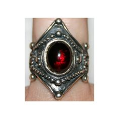 Sterling Silver Gothic Medieval Gemstone Ring ($87) ❤ liked on Polyvore featuring jewelry, rings, goth rings, gem rings, long rings, gemstone rings and sterling silver jewellery