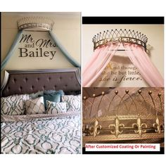 Bed Canopy With Lights, Bed Crown Canopy, Diy Canopy, Canopy Beds, Canopies, Crown Wall Decor, Girls Bedroom, Bedroom Decor, Cute Bedroom Ideas