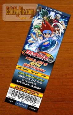 Celebrate a birthday or special day with a customized Beyblade birthday party invitation.  Save time & money by printing your own invites and announcements at your own photo service (CVS, Target, Walmart, Shutterfly, etc.)  This is a ticket-style invitation. When you get the invitation printed, there will be two invitations on each print. Simply cut the print in half to get two invitations.