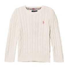 Ralph Lauren Classic Cable Knit Sweater Warm White ($115) ❤ liked on Polyvore featuring tops, sweaters, layered tops, chunky cable knit sweater, ralph lauren, cable-knit sweater and ralph lauren sweater