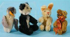 Schuco miniature animals: Panda, golden mohair Teddy, Rabbit and Noahs Ark Penguin (lacks feet) ( Old Friends, Teddy Bears, Ark, Vintage Toys, Penguins, Panda, Rabbit, Auction, Antiques