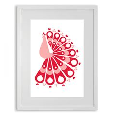 Pink colorful print A colorful and bright peacock print framed in a stylish frame. Acid free stock used for creating  the print.