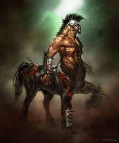 Battle worn Centaur, Centaur, mythical, fantasy art, man, male, horse, hest, partly, creature, beast, beautiful, warrior, spirit, muscles, masculin.