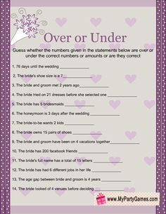 Over or Under Bridal Shower Game Printable in Purple and Taupe Colors