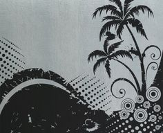 Tropical Palm Scene - Vinyl Wall Decals Murals Stickers Art Graphic - 45H x45W - by üBer Decals. $64.99, via Etsy.