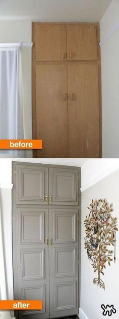 This DIY closet makeover is an instant refresh for a closet in desperate need of an upgrade. Try this closet hack for yourself! This DIY closet makeover is an instant refresh for a closet in desperate need of an upgrade. Try this closet hack for yourself! Home Improvement Projects, Home Projects, Home Renovation, Home Remodeling, Furniture Makeover, Diy Furniture, Bedroom Furniture, Building Furniture, Furniture Projects
