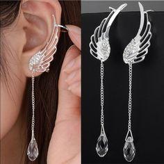 Cuff Earrings, Crystal Earrings, Clip On Earrings, Big Earrings, Crystal Jewelry, Diamond Earrings, Fringe Earrings, Silver Drop Earrings, Rhinestone Earrings
