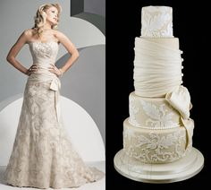 Wedding dress inspired cake