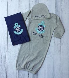 Gray Nautical Infant Baby Boy Gown with Applique by SixpenceCrafts