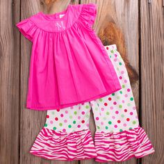 Lolly Wolly Doodle Dot Capris Hot pink Flutter Top 6/29
