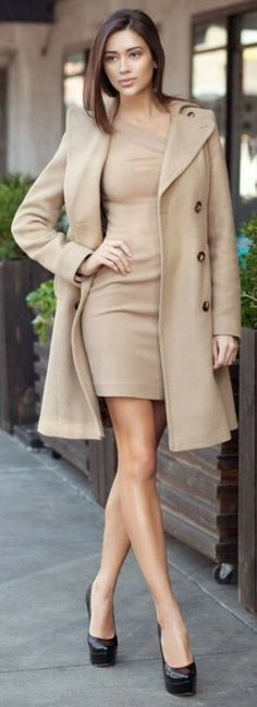 Gorgeous look in brown mini dress and long blazer. I'd like it better in winter white.