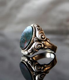 Antique Signet Ring Art Nouveau Heliotrope Bloodstone Solid Silver 800 Engraved~