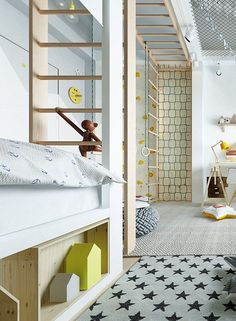 Nursery Boys Children wallpaper design and white climbing wall Wood Room-For-Kids_ The post A nursery not just to linger appeared first on Woman Casual - Kids and parenting Wood Room, Wall Wood, Minimalist Furniture, Classic Furniture, Baby Room Decor, Bedroom Decor, Kids Wallpaper, Nursery Wallpaper, Little Girl Rooms
