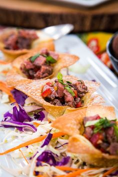 @cristinacooks  makes delicious Crispy Wonton Cups Filled with Asian Beef! #beef #asian #wontons #homeandfamily