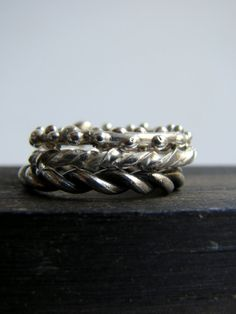 Silver Stacking Rings by Nafsika on Etsy, $66.00