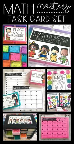 Math Mastery Task Cards are a collection of task cards that allow students to independently assess and track their own mastery of different math concepts and skills. They cover the common core standards and cover a variety of skills, including place value Fun Math, Math Activities, Fifth Grade Math, Fourth Grade, Math Classroom, Classroom Organization, Classroom Decor, Math Task Cards, Math Intervention