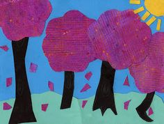 Art Projects for Kids: Watercolor Resist Tree Collage