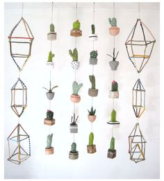 geometric painted stick mobiles