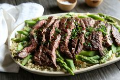 Red Wine Steak with Quinoa and Asparagus - Just use rice instead of quinoa for the hubby :)