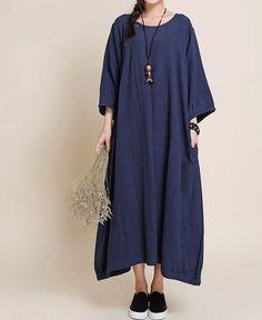Buddhist red maxi dress/ dark blue maxi dress/ large by MaLieb