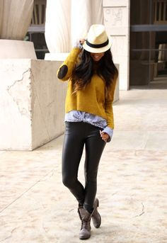 Leather Skinnies and Great Layers.