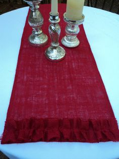 Christmas Red Burlap Table Runner  Custom Size by theruffleddaisy, $23.50