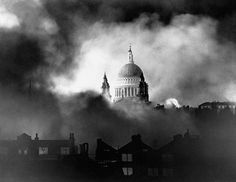 St Paul's Cathedral, London during the German bombing campaign called the Blitz.