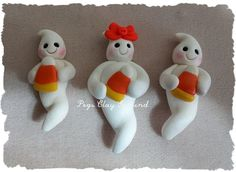 Polymer Clay Ghost Halloween Bow Centers Candy by PegsClayGround