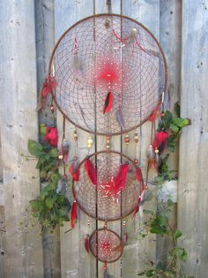 Red Dreamcatcher authentic dream catcher  native by FineBubbles