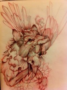 Wolf & Raven Tattoo Sketch. Woah. Cool as shit.