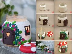 DIY Jar Mushroom House - This is amazing! Would make a cool biscuit tin too Diy Craft Projects, Cool Art Projects, Diy House Projects, Project Ideas, Craft Ideas, Diy Ideas, Craft Tutorials, Decor Ideas, Jar Crafts