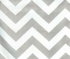 """Gray and white chevron fabric. This is a 100% cotton print fabric with a gray and white zig zag design. Each line is 1"""" thick, great for pillows, window treatments or make a bedspread."""