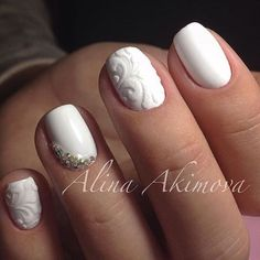 White Wedding Nail Art