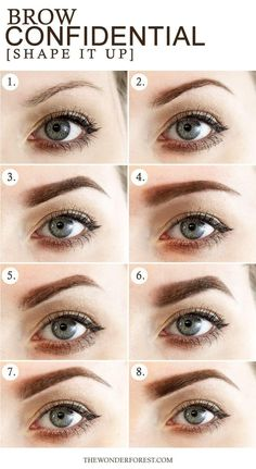 Brow Confidential / 8 Different Eyebrow Shapes Sometimes people don't realize how much they can really change the shape of their brows. Permanent Eyebrows, Permanent Makeup, Pluck Eyebrows, Microblading Eyebrows, Makeup Tips, Beauty Makeup, Hair Beauty, Makeup Products, Contouring Products