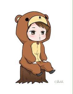 Kai the Teddy Bear Exo Kai, Kpop Exo, Exo Cartoon, Exo Anime, Anime Neko, Exo Stickers, Exo Fan Art, Cute Chibi, Kpop Fanart