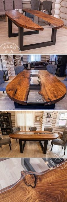 The large dining table made of wood and glass. Oval table in the style of River made from slabs of wood - Salvabrani