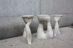 Kreten Objects (made of cast concrete in rubber-coated lycra) by Isaac Friedman-Heiman