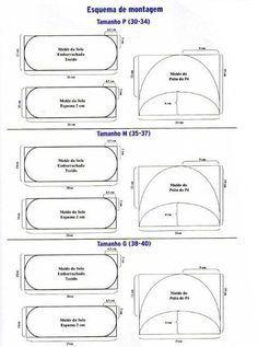 Moldes Para Artesanato em Tecido: Chinelo com Moldes